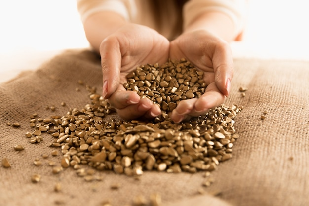 Foto de close de uma mulher segurando um monte de pepitas de ouro nas mãos