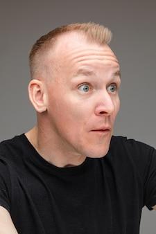 Foto de close-up de um homem branco de cabelos louros arregalando os olhos e olhando para o lado