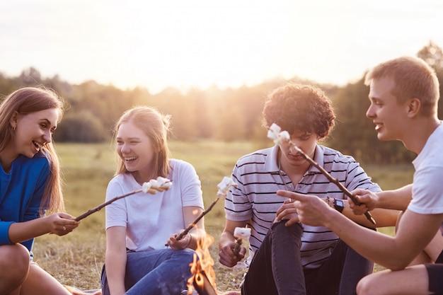 Foto de companhia amigável de amigos fazer piquenique ao ar livre, assar marshmallows sobre fogueira, ter expressões positivas, agradável conversa animada, discutir algo engraçado, posar ao ar livre. amizade