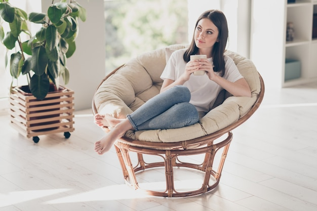 Foto de corpo inteiro de uma garota charmosa vestindo roupas de estilo casual sentar poltrona segurar xícara de café sonhando em casa apartamento