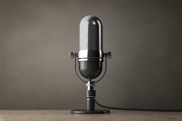 Foto de estilo antigo. microfone de prata vintage em uma mesa de madeira. renderização 3d