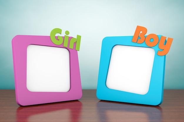Foto de estilo antigo. molduras para fotos com cartazes de menina e menino na mesa