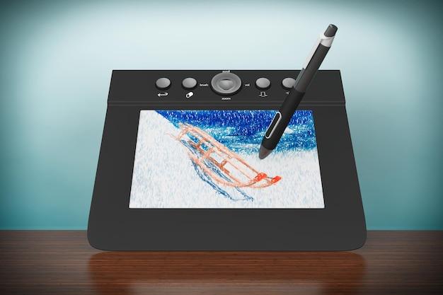 Foto de estilo antigo. tablet gráfico digital com caneta e trenós desenhando na mesa
