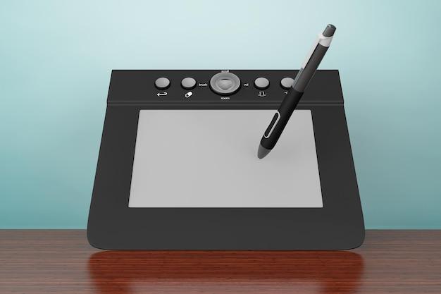 Foto de estilo antigo. tablet gráfico digital com caneta na mesa