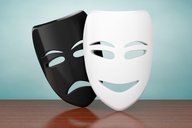Foto de estilo antigo. tragicomic theatre sad and smile masks na mesa