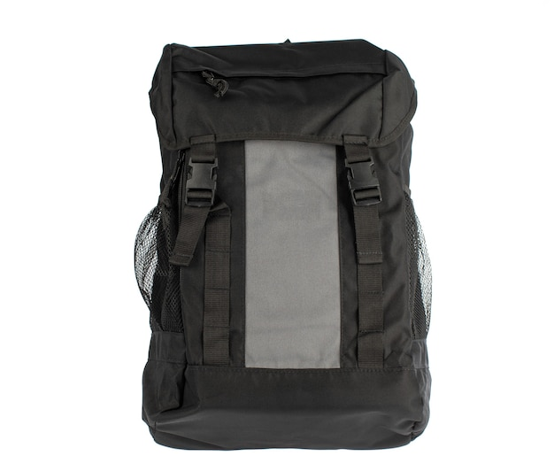 Foto de estúdio closeup isolada de nova pequena bolsa mensageiro preto de tecido na moda moderno moderno e casual pequeno sobre fundo branco.