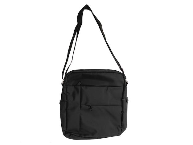 Foto de estúdio closeup isolada de novo pequeno casual moderno moderno na moda tecido preto mensageiro rider homens bolsa estilingue bagagem com alça no fundo branco