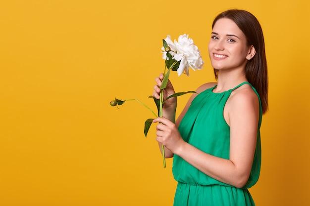 Foto de estúdio da mulher encantadora vestindo elegante vestido verde isolado sobre amarelo