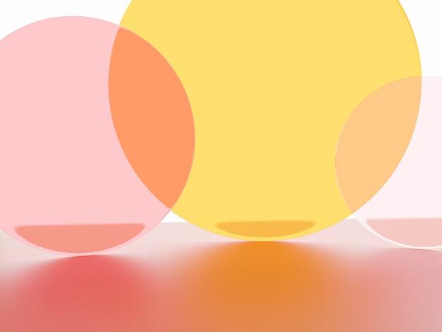 Foto de estúdio de renderização 3d placa acrílica vibrante ou laranja neon e rosa transparente sobreposta