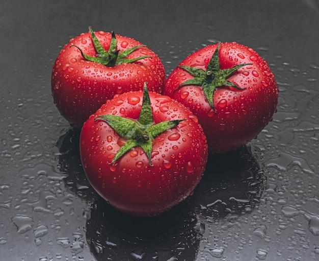 Foto de estúdio de três tomates com gotas de água