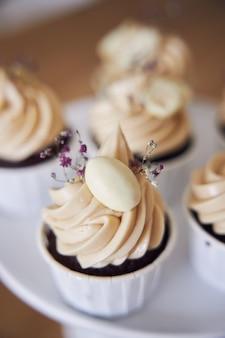 Foto de foco seletivo de deliciosos bolinhos de chocolate com cobertura de creme branco