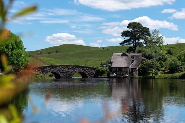 Foto de foco seletivo de uma ponte sobre a água com uma casa à distância