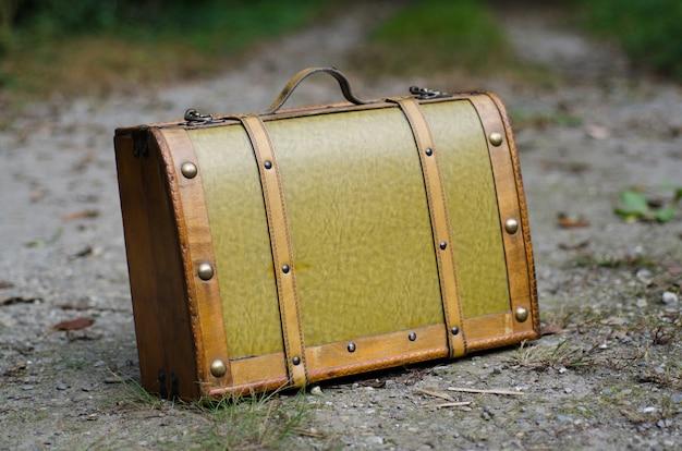 Foto de foco seletivo de uma velha mala verde com elementos retrô