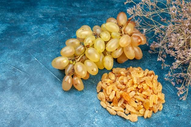 Foto de frente com uvas frescas com passas em uma foto de cor azul suco de frutas vinho suave