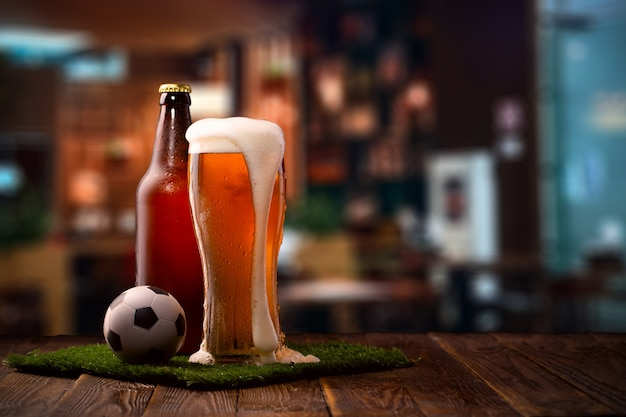 Foto, de, garrafa, e, vidro cerveja