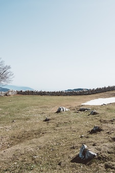 Foto de grande angular de construtores de rochas em um campo verde sob um céu claro