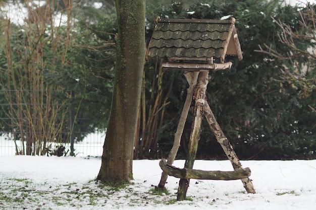 Foto de grande angular de uma construção de madeira ao lado de uma árvore