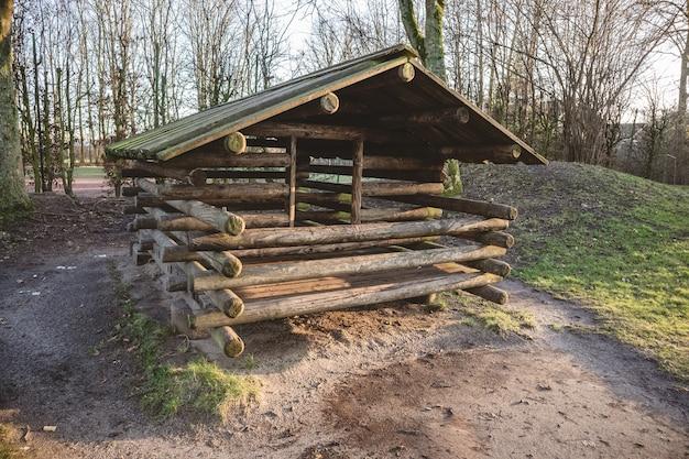 Foto de grande angular de uma construção de madeira no meio da floresta