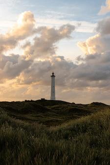 Foto de grande angular de uma grande torre branca sob um céu nublado cercado por grama