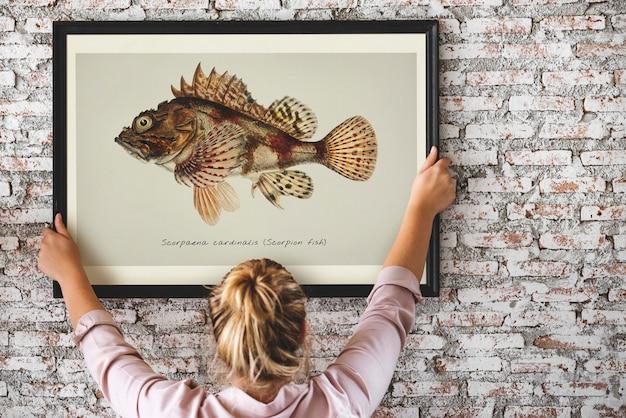 Foto, de, mão, desenho, peixe, em, um, quadro