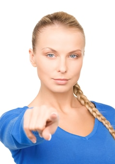 Foto de mulher de negócios atraente apontando o dedo