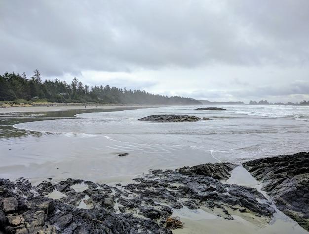 Foto de paisagem de uma praia rochosa durante o tempo nublado com árvores