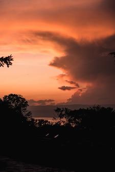 Foto de tirar o fôlego de um pôr do sol alaranjado com silhuetas de árvores