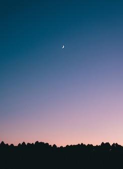 Foto de tirar o fôlego de uma lua crescente no meio de um céu azul com silhuetas de árvores abaixo