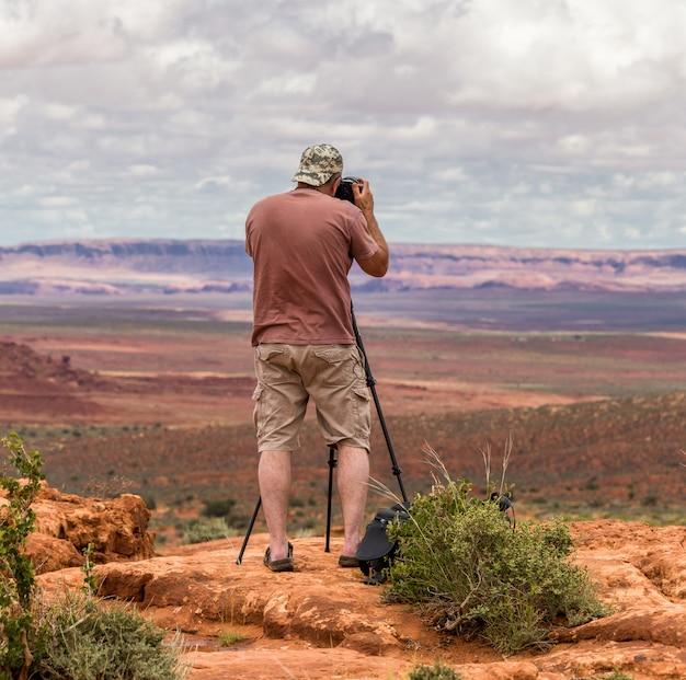Foto de tomada de fotógrafo de alpinista