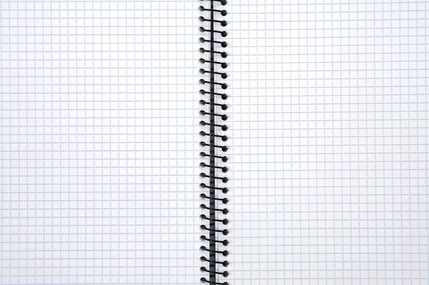 Foto de um caderno em branco com quadrados azuis