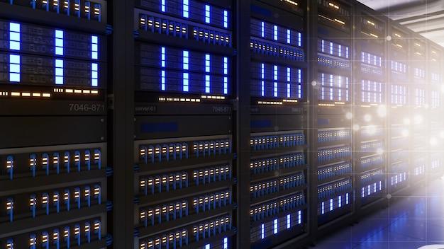 Foto de um data center com várias linhas de racks de servidores totalmente operacionais. telecomunicações modernas