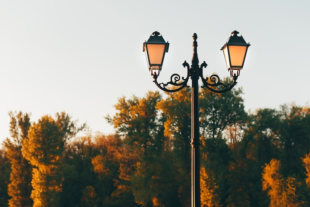 Foto de um lampião de rua antigo em um parque ao ar livre durante o pôr do sol