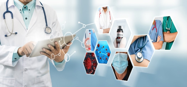 Foto do coronavirus covid-19 definir banner no conceito de tratamento médico