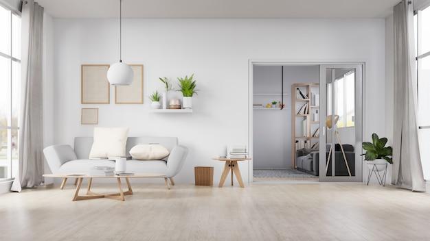 Foto em branco interior moldura sala com sofá branco. renderização em 3d.