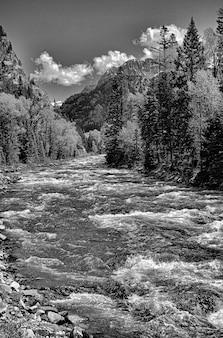 Foto em tons de cinza de um rio cercado por montanhas e muitas árvores sob um céu nublado