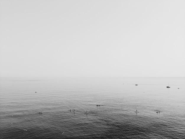 Foto em tons de cinza do oceano sob um céu nublado