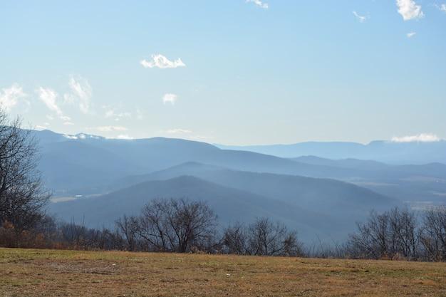 Foto grande angular de montanhas e árvores em um dia de nevoeiro