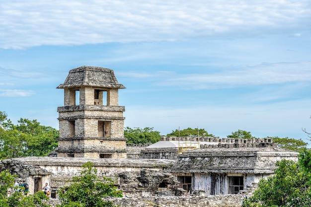 Foto grande angular de palenque, no méxico, cercada por árvores sob um céu azul claro