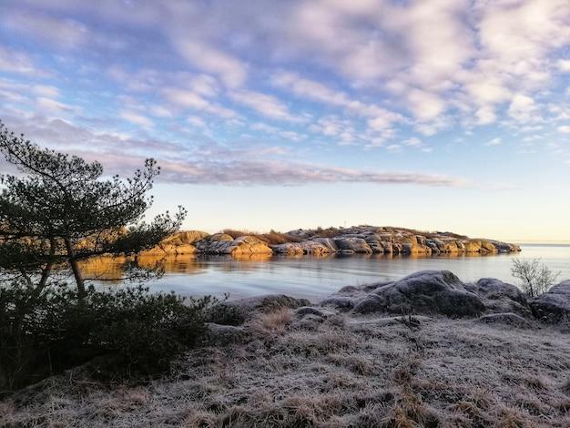 Foto hipnotizante de alto ângulo de um rio em stavern, noruega
