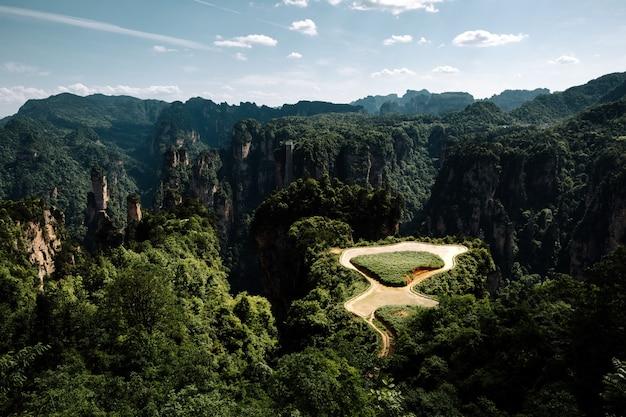 Foto hipnotizante de árvores verdes e altas montanhas em um dia ensolarado