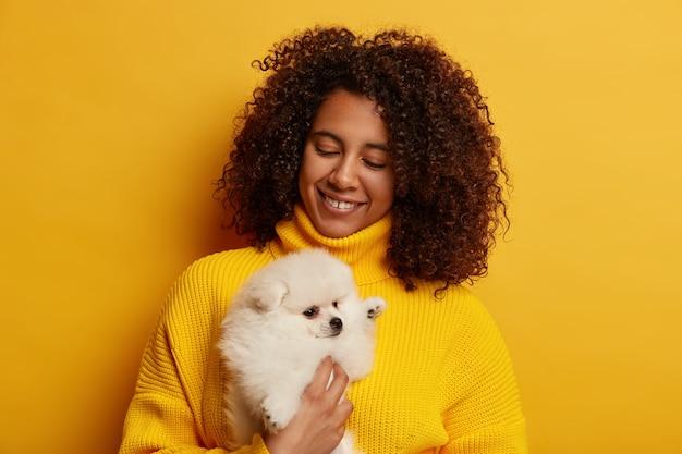 Foto horizontal de mulher feliz com cabelo afro espesso, sente prazer em brincar com o filhote de cachorro com pedigree, cuida do spitz branco, usa um suéter amarelo, posa dentro de casa.