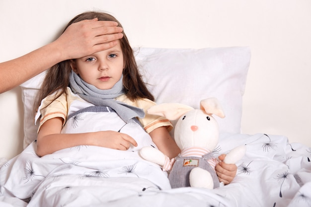 Foto interior de menina com cabelo loiro, deitado em sua cama, abraçando o brinquedo favorito, tendo mão desconhecida na testa, verificando a temperatura
