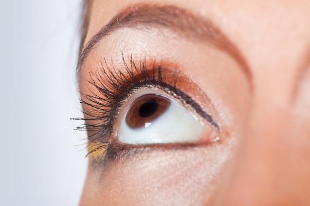 Foto macro de um olho feminino