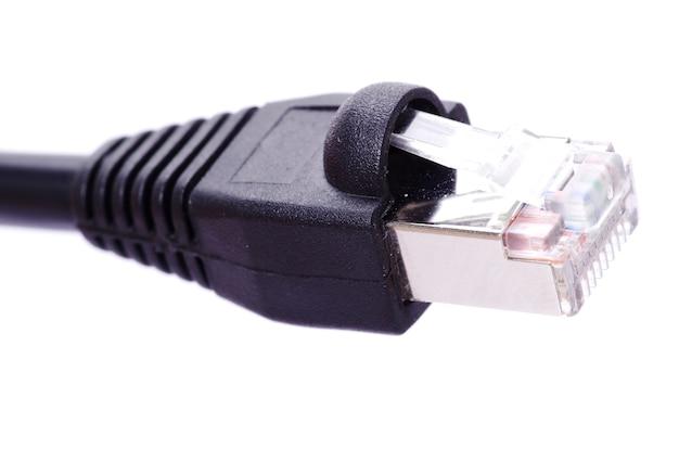 Foto macro do plugue de conexão de rede Foto Premium