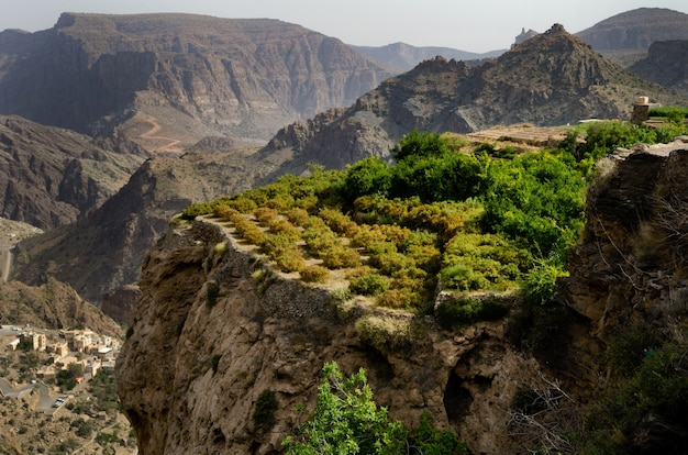 Foto panorâmica de montanhas enormes e pitorescas e penhascos parcialmente cobertos por árvores verdes