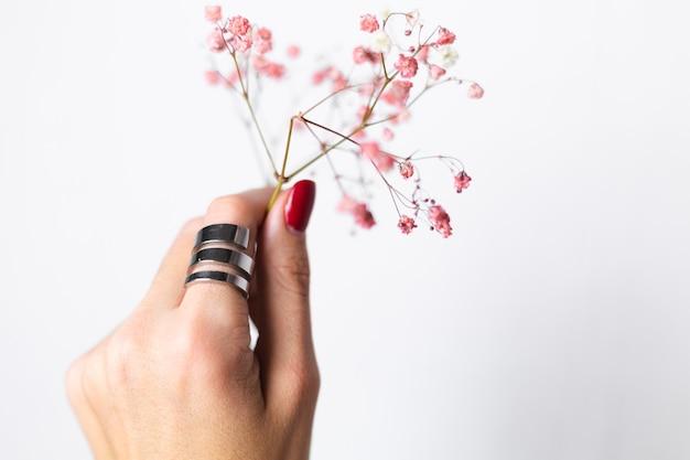 Foto suave suave da mão de uma mulher com manicure de anel grande vermelho segurar lindas flores secas rosa em branco.