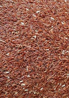 Foto vertical da vista superior do arroz vermelho escuro sangyod muang phatthalung