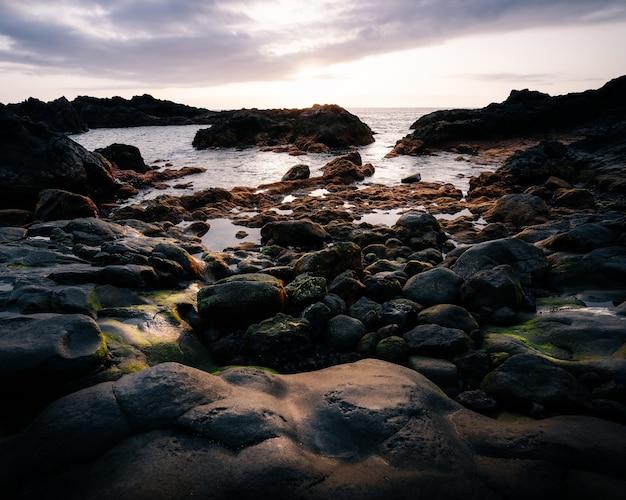 Foto vertical de alto ângulo das pedras cobertas de musgo na praia com o céu claro
