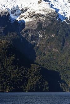 Foto vertical de florestas verdes e montanhas nevadas perto do lago