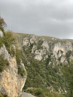 Foto vertical de montanhas cobertas de vegetação sob um céu nublado